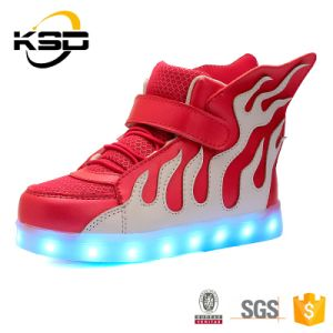 The Most Popular Fire Pattern LED Light up Kids Shoes Customized LED Lighting Shoes pictures & photos