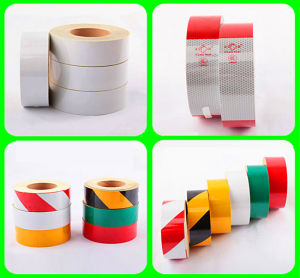 Warning Pressure Sensitive Type Retro PVC Reflective Tape pictures & photos