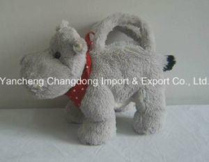 Stuffed Grey Soft Cute Hippo Bag with Red Scarf pictures & photos