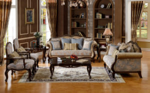American Classical Fabric Sofa for Living Room Antique Home Furniture Set pictures & photos