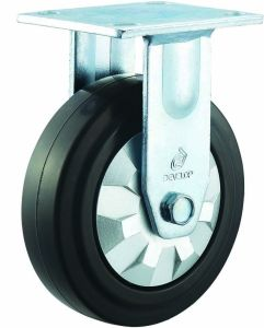 4/5/6/8 Inch Black Elastic Rubber Noiseless Fixed Caster Wheels for Trolley pictures & photos