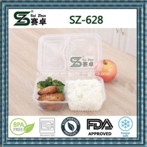 Clear High Quality Fashion Microwavable Disposable Food Container with Hinged Lid pictures & photos