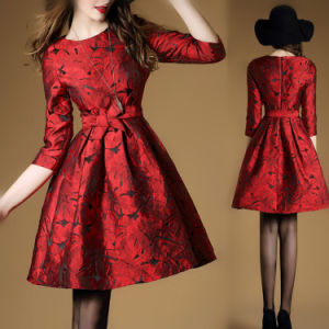 Women′s Autumn Slim Fit Polyester and Lace Dress (A136) pictures & photos