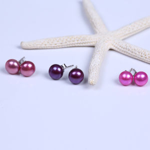 Good Quality Button Freshwater Pearl Stud Earring pictures & photos