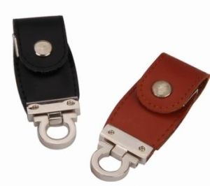 New Leather USB Stick with Engraved Your Logo pictures & photos