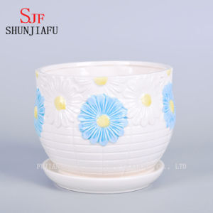 Giant White and Blue Daisy Design Saucer Planter Flowerpot pictures & photos