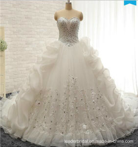 2017 Crystal Wedding Gowns Lace Organza Stock Bridal Wedding Dresses W20179 pictures & photos