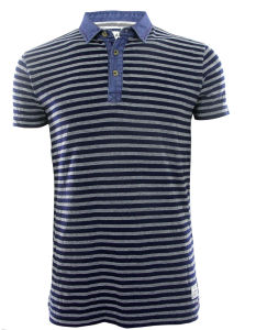 Men New Design Knitting Denim Fashion Stripe Polo Shirts Top Clothing (EE17053) pictures & photos