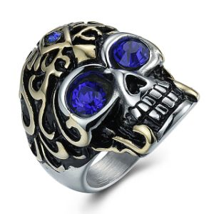 Fashion Vintage Retro Skull Diamond Titanium Stainless Steel Men Band Ring Jewelry pictures & photos