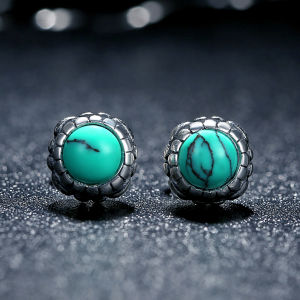 Silver Blooms Earrings December with Birthday Gems Stone Turquoise Stud Earrings pictures & photos