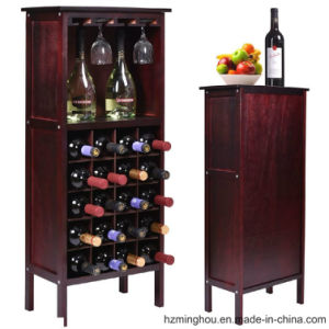 Red Wood Cabinet with Bottle Storage and Wine Glass Rack pictures & photos
