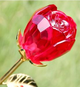 Hot Sale Crystal Crafts Glass Rose Flower pictures & photos