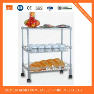 3 Tier Display Wire Shelving Trolley for Kitchen Use pictures & photos