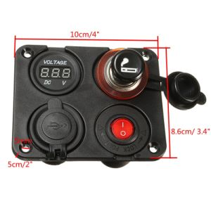 4 Hole Panel  Dual USB Charger Voltmeter 12V Socket Cigarette Lighter on-off Switch pictures & photos
