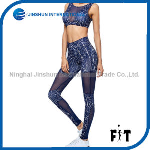 New Sexy Tight Sportswear Women Mesh Matching Top Sports Leggings Fashion Fitness Two Pieces pictures & photos