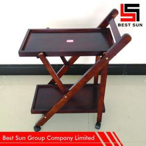 2 Tier Foldable Mobile Wooden Kitchen Cart pictures & photos