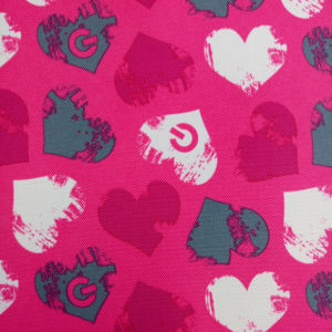 400d Peach Heart Printing Fabric for High School Students Backpack pictures & photos