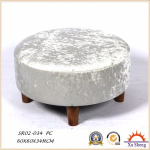 Bedroom Furniture Round Button Tufted Linen Ottoman Stool pictures & photos