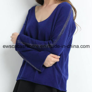 Ladies V-Neck Pure Cashmere Sweater with Shiny Sequins pictures & photos