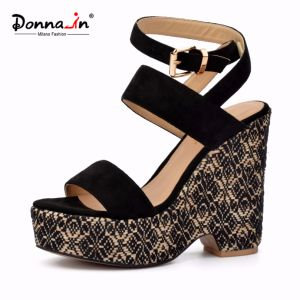 Lady Casual High Heels Weave Platform Women Wedge Sandals pictures & photos