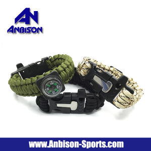Outdoor Compass Whistle Paracord with Fire Starter Survival Bracelet pictures & photos