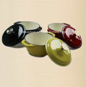3PCS Enamel Cast Iron Cookware Set with Stainless Steel Knob pictures & photos