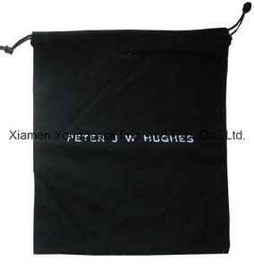 Fashion Custom Black Brushed Cotton Fleece Fabric Drawstring Dust Bag for Handbags pictures & photos