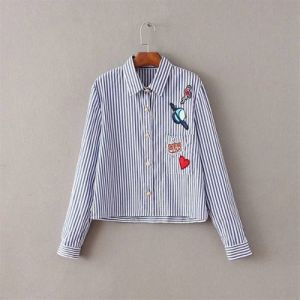 2016 New Fashion Women Vertical Stripe Patch Cloth Shirt Blouse Lady Elegant Long Sleeve Loose Blusas Shirt Button Tops pictures & photos