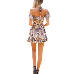 Women Summer Sexy Halter Floral Print off Shoulder Dress pictures & photos
