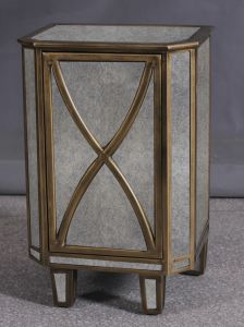 Reproduction Mirror Wooden Side Table Furniture with Golden Boarding pictures & photos