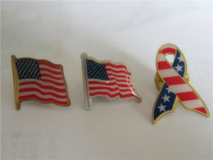 Epoxy Flag Gold Lapel Pin