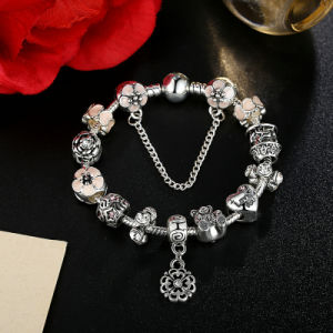 Antique I Love You Heart Pink Flower Safety Chain Charm Bracelets & Bangles Jewelry pictures & photos