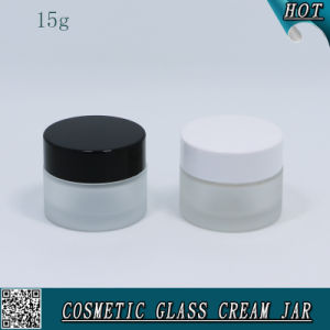 15ml 15g Frosted Glass Cream Jar with Plastic Cap pictures & photos