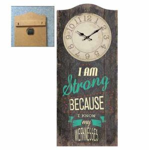 Wood Wall Plaque with Clock - I Am Strong pictures & photos