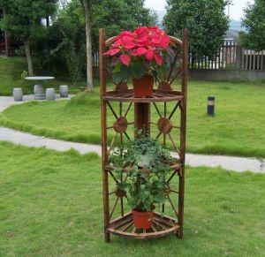 Garden Burnt Corner Wood Plant Stand Pot Planter 3 Tier Shelves pictures & photos