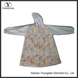 Kids Waterproof PVC Raincoat Hooded Cute Floral Girls Lined Raincoat pictures & photos
