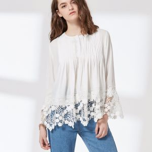 Ladies Fashion Chiffon Lace Pleated Preppy Blouse pictures & photos