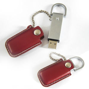 Leather USB Flash Drive with Keychain (SMS-FDL05)