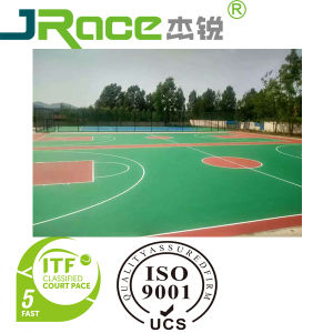 Rubber Shock-Absorption Tennis Court with PU Coating Sport Surface pictures & photos