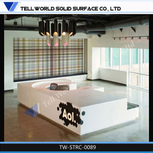 Rectangular Round Acrylic Reception Desk for Hotel Lounge pictures & photos