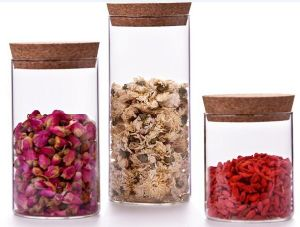 Borosilicate Glass Food Storage Jar with Wooden Lid or Cork pictures & photos