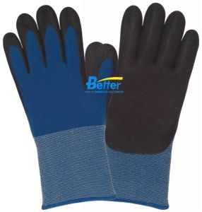 18 Guage Nylon Lining Nitrile Sandy Dipped Work Gloves (BGNC504)