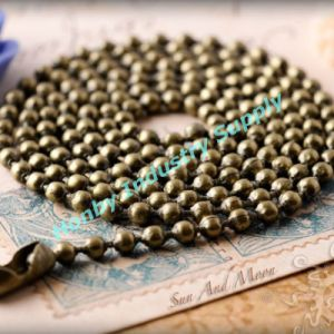 Antique Brass Plated 3.2mm Metal Bead Necklace Chain