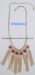 Fashion Jewelry Agate Beads with Spikes and Chain Tasseled Necklace (SFN0224A)