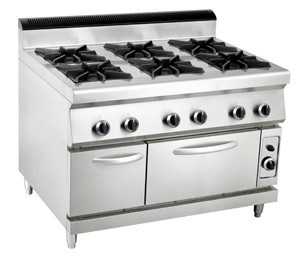 Hpt Sale Commercial 6-Burner Gas Range with Electric Oven pictures & photos