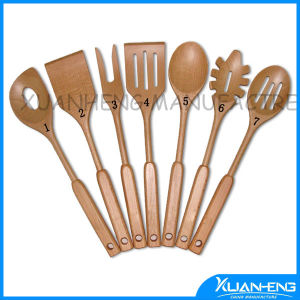 Wooden Salad Server Spoons with Handle pictures & photos