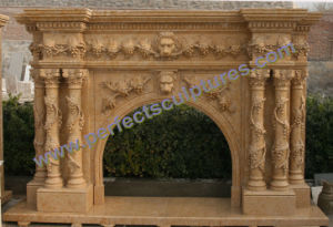 Marble Fireplace with Stone Mantel (QY-LS385) pictures & photos