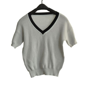 100%Cotton Short Sleeve V-Neck Knit Women Knitwear pictures & photos