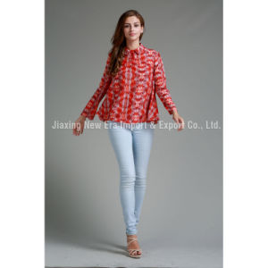 Women′s Poly Chiffon Long Sleeve Printing Blouse