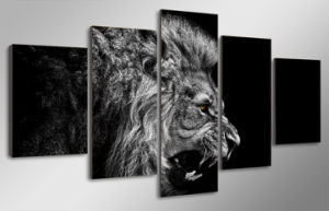 HD Printed Lion White Black Painting Canvas Print Room Decor Print Poster Picture Canvas Mc-100 pictures & photos
